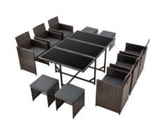 Salon de Jardin Design 10 Places Ensemble Table 6 Fauteuils 4 Tabourets Set de Meubles Extérieurs
