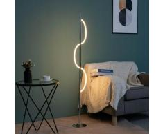 Lampadaire LED chromé design ondulé - Savona - Argenté / Chromé