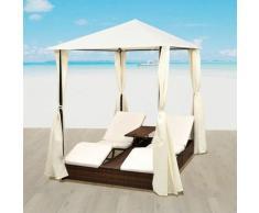 Chaise longue double d'extérieur Lit pliable de jardin avec rideaux et coussins blanc Résine