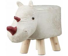 Tabouret chaise pour enfant motif animal rhinocéros beige rembourré avec mousse repose-pieds pieds
