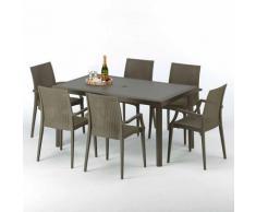 Table rectangulaire 6 chaises Poly rotin resine 150x90 marron Focus | Bistrot Arm Marron Moka