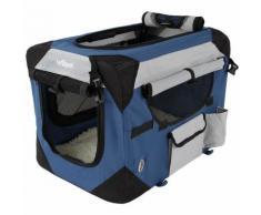 Cage boîte de transport pour chien tissu bleu et noir 49,5/34,5/35 cm