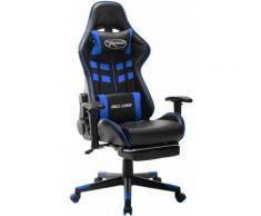 Betterlife - Chaise de jeu avec repose-pied Noir et bleu Cuir artificiel1837-A