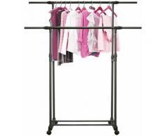 Porte-vêtements Multifonctionnel Ajustable Porte-Manteaux à Deux Pôles pour Salon Chambre Balcon