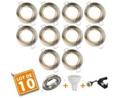 10 x Spot encastrable orientable Acier Brossé complet LED 5W eq 40W | Blanc chaud 2700K