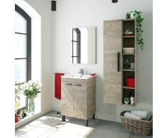 Caesaroo - Meuble de salle de bain sur le sol 50 cm Chêne avec lavabo et miroir | Chêne clair