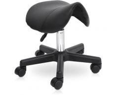 Tabouret de massage tabouret selle ergonomique pivotant 360° hauteur réglable simili cuir noir