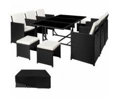 Salon de Jardin MALAGA Ensemble avec 6 Chaises 4 Tabourets et 1 Table en Résine Tressée et Acier