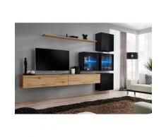 Ensemble meubles de salon SWITCH XIX design, coloris chêne Wotan et noir brillant. - Marron