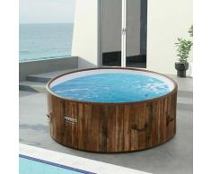 Piscine Spa Pool | Gonflable | Chauffage | Exterieur | Ronde Drop-Stitch - Aspecto madera - Arebos