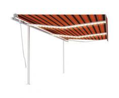 Auvent manuel rétractable avec LED 6x3 m Orange et marron