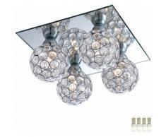 Etc-shop - Plafonnier salon lampe miroir spots boule de cristal dans un ensemble comprenant des