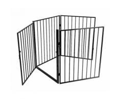 4 pièce Clôture de cheminée pour animaux de compagnie Acier Noir 240*2.5*75cm