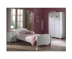 M&s - Chambre enfant 3 pièces lit chevet et armoire 2 portes bois laqué blanc Cœur 90x200 cm