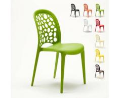 Chaise salle à manger café bar restaurant jardin polypropylène empilable Design WEDDING Holes