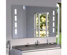 Miroir anti-buée 140x80 cm - éclairage intégré à LED et interrupteur sensitif - Prestige