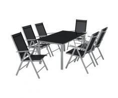 Salon de Jardin avec 6 Chaises Pliantes et 1 Table en Verre et en Aluminium Gris clair / Noir