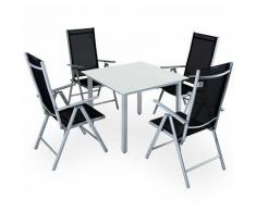 Salon de jardin aluminium argent »Bern« 1 table 4 chaises pliantes plateau en verre dépoli dossier