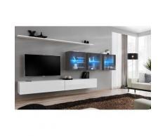 Ensemble meuble salon mural SWITCH XVII design, coloris blanc et gris brillant. - Blanc