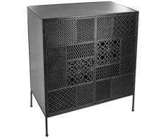 Pegane - Buffet à 2 portes Arabesque en Métal coloris Noir - 80 x 40 x 91 cm