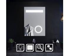 SIRHONA Miroir de salle de bain 70x50 cm Miroir led avec interrupteur tactile Anti-buée éclairage