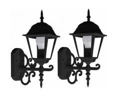 Façades Appliques Extérieures Verre Alu Lanternes Country Style Garden Lights Noir