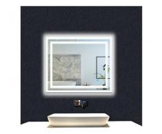OCEAN Miroir de salle de bain 80x60cm anti-buée miroir mural avec éclairage LED modèle Carré 3.0