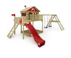 WICKEY Aire de jeux Portique bois Smart Ocean avec balançoire et toboggan rouge Maison enfant sur