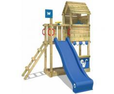 WICKEY Aire de jeux Portique bois Smart Sparrow avec toboggan bleu Maison enfant exterieur avec bac