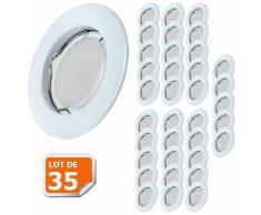 Lampesecoenergie - Lot de 35 Spot Led Encastrable Complete Blanc Lumière Blanc Chaud 5W eq.50W