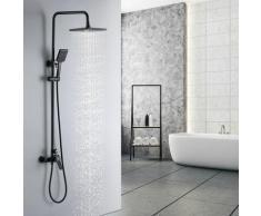 Ensemble de douche Noir avec Douchette à Main et Pommeau de douche à effet pluie 260mm Colonne de