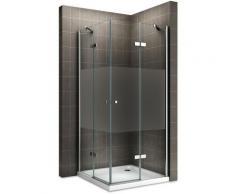 MAYA Cabine de douche H 180 cm en verre semi-opaque 100x85 cm