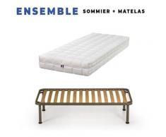 Matelas 80x200 + Sommier Démonté + pieds + Protège matelas Offerts - Latex Naturel - 80 Kg/m3