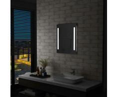 Youthup - Miroir mural à LED pour salle de bains avec étagère 50x70 cm