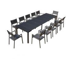 Console résine avec 12 chaises et leurs housses de protection