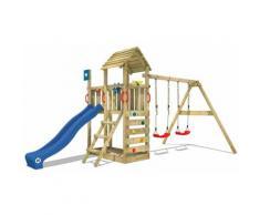 WICKEY Aire de jeux Portique bois Smart Rival avec balançoire et toboggan bleu Maison enfant