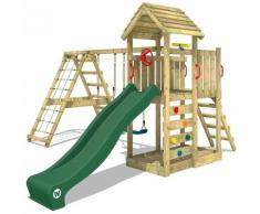 WICKEY Aire de jeux Portique bois RocketFlyer avec balançoire et toboggan vert Maison enfant