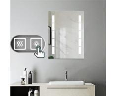 Aica Sanitaire - Miroir salle de bain 80x60cm anti-buée Mural LED Lumière Illumination avec
