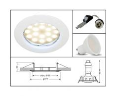 Lampesecoenergie - SPOT LED ENCASTRABLE COMPLETE RONDE FIXE eq. 50W BLANC CHAUD 3000K