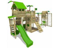 Aire de jeux Portique bois PacificPearl avec balançoire TowerSwing et toboggan vert pomme Maison