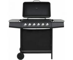 Youthup - Barbecue au gaz avec 6 zones de cuisson Acier Noir