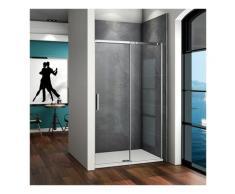 Porte de douche coulissante 110x195cm verre anticalcaire porte de douche installation en niche