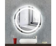 Oobest - Miroir de salle de bain à LED rond anti-buée à éclairage blanc froid miroir mural avec