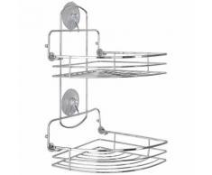 Feridras étagère d'angle pliante 2 plateaux chrome accessoire déco salle de bain