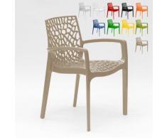 Chaise en polypropylène accoudoirs jardin café Gruvyer Arm | Beige - Grand Soleil