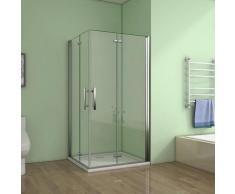 Cabine de douche80x80x195cm 2 portes de douche pivotante et pliante verre anticalcaire