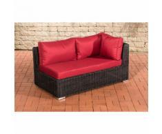 Canapé d'angle de 2 places Tessera rond/noir Rouge rubin