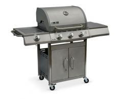 Alice's Garden - Barbecue gaz inox 14kW - Richelieu Inox - Barbecue 3 brûleurs + 1 feu latéral.
