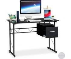 Bureau moderne avec plaque de verre, tiroir latéral, pour chambre d'ado,HlP 75 x 110 55 cm, noir