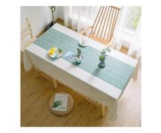 Ilovemono - Nappe rectangulaire, couverture de table de gland de broderie de treillis, utilisée